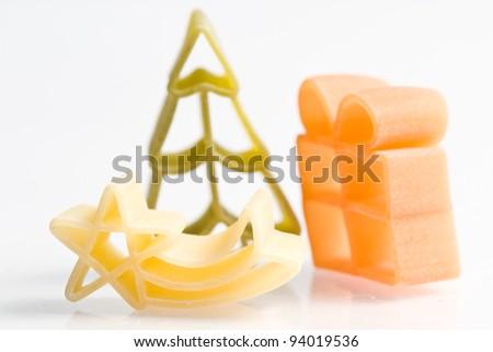 christmas noodles pasta isolated on white ground - stock photo