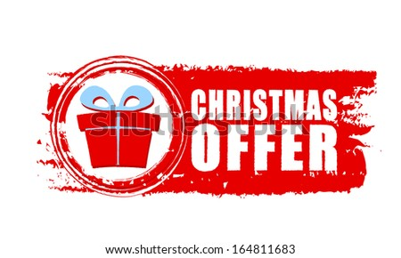 christmas offer - text and gift box sign on red drawn banner, business holiday concept - stock photo