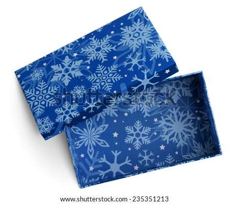 Christmas Open empty gift blue box. isolated with clipping paths - stock photo