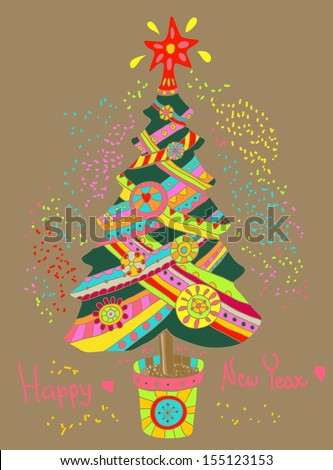 Christmas or New Year background with colorfull fir tree for Holiday design - stock photo