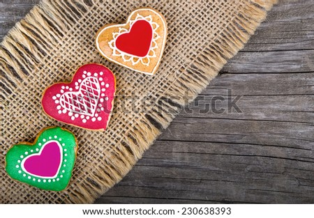 christmas or valentines day heart shape gingerbread cookie - stock photo