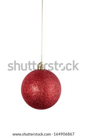 Christmas ornament ball isolated - stock photo