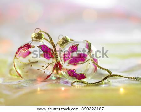 christmas ornament ,glass christmas ball with shallow depth of field - stock photo