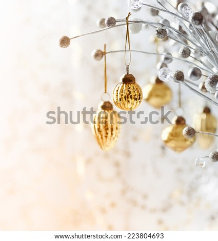 Christmas ornament hanging on a twig  - stock photo