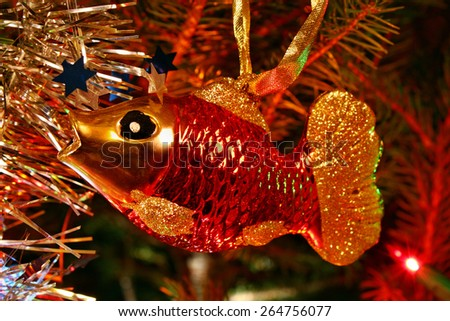 Christmas ornament in the shape of a fish carp - stock photo