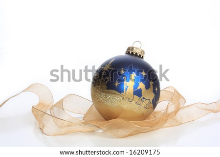 Christmas ornament with nativity - stock photo