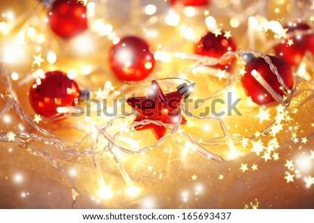Christmas ornaments and garland close-up - stock photo