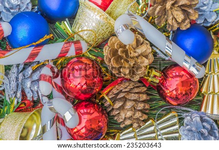 christmas ornaments and vary of decoration on wood background. - stock photo