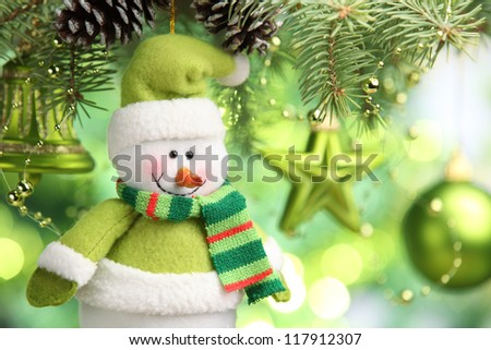 Christmas ornaments hanging from christmas tree,Closeup. - stock photo