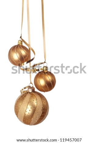 Christmas ornaments hanging isolated on white background - stock photo