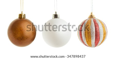Christmas ornaments isolated on white with a clipping path. - stock photo