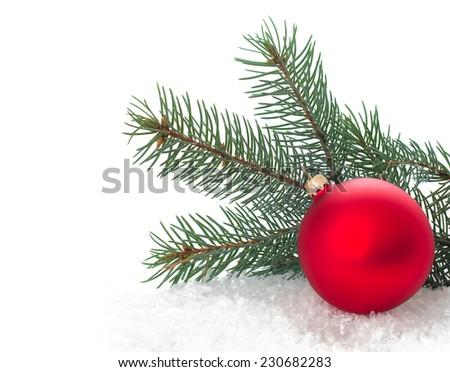 Christmas ornaments on Christmas tree. Christmas border with ornament, present and snow - stock photo