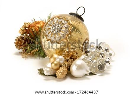 Christmas ornaments on white background. - stock photo