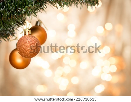 Christmas ornaments with blurred background - stock photo