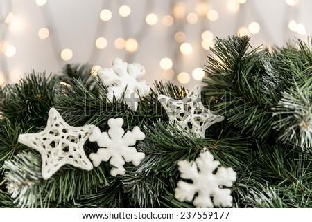 Christmas ornaments with christmas tree lights.  - stock photo
