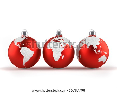 Christmas ornaments with world maps - 3d render - stock photo