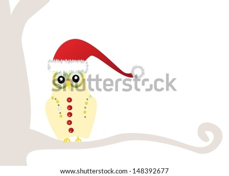 christmas owl - stock photo