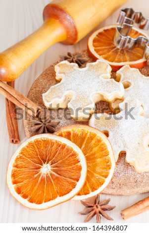Christmas pastry. Cookie and spice - stock photo