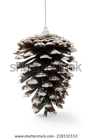 Christmas Pine Cone isolated on white background - stock photo