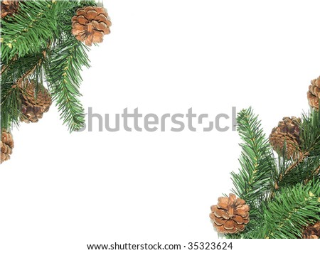 Christmas pine tree decorations with space for text - stock photo