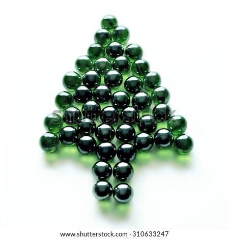 Christmas pine tree fantasy marbles balls - stock photo