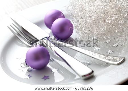 christmas place setting with christmas balls - stock photo