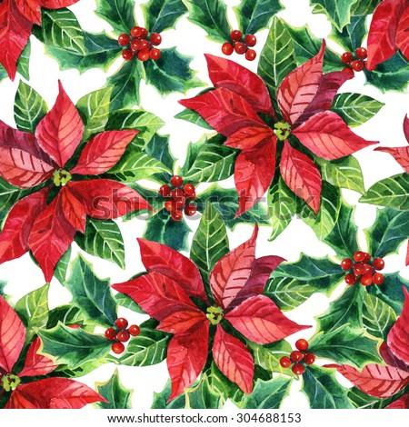 Christmas poinsettia seamless pattern, watercolor flower - stock photo