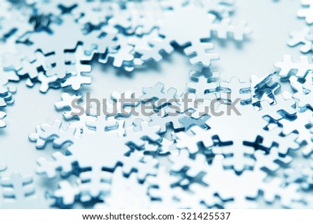 Christmas postcard with decorative silver snowflakes macro - stock photo