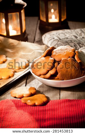 Christmas preparations at dusk - stock photo
