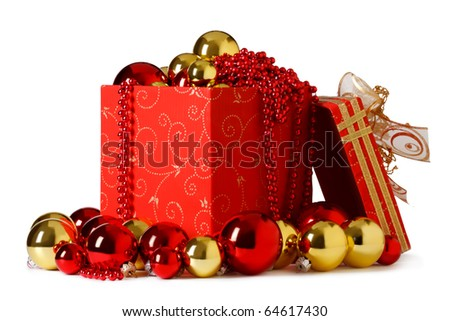 christmas present. Gift box and christmas baubles  on a white background - stock photo