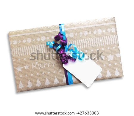 Christmas present with blank card, isolated on White - stock photo