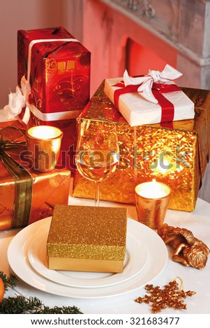 Christmas presents on table, elevated view - stock photo