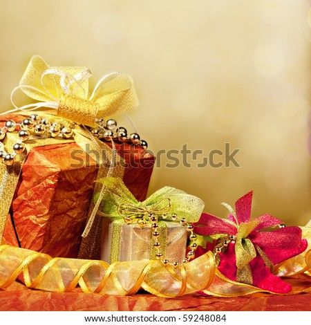 Christmas presents with colorful lights and decorations - stock photo