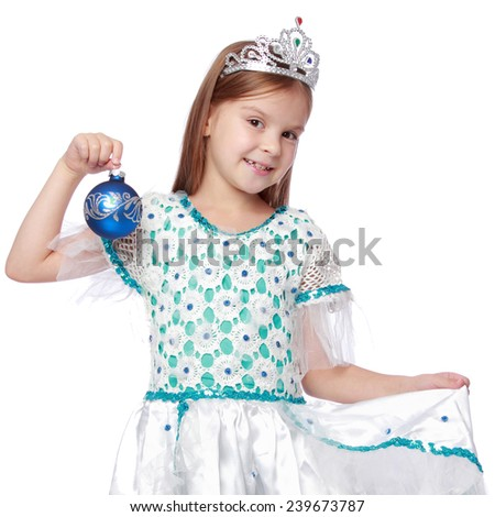 Christmas princess costumes on blond hair beautiful little girl in adorable white dresses - stock photo