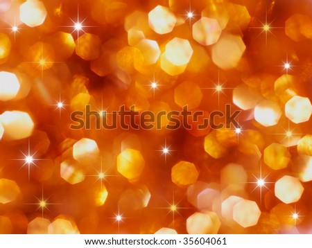 Christmas red and gold lights and stars - stock photo