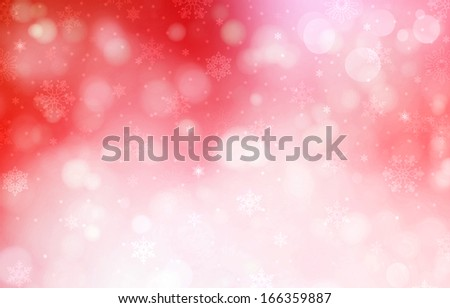 Christmas red background with snow flakes - stock photo