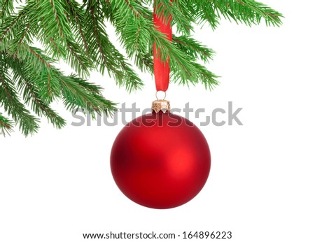 Christmas red ball hanging on a fir tree branch Isolated on white background - stock photo