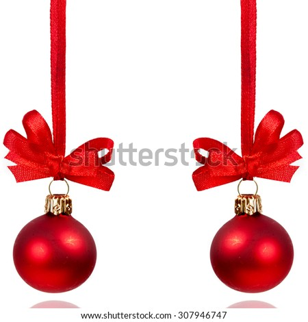 Christmas red balls over white background - stock photo