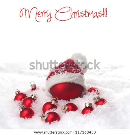 christmas red baubles - stock photo