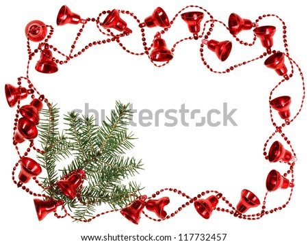 Christmas red bell garland frame with fir branch, isolated on white - stock photo