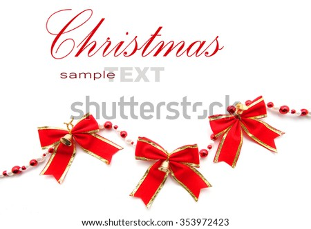 Christmas Red Bow ribbon isolated on white with copy space - stock photo