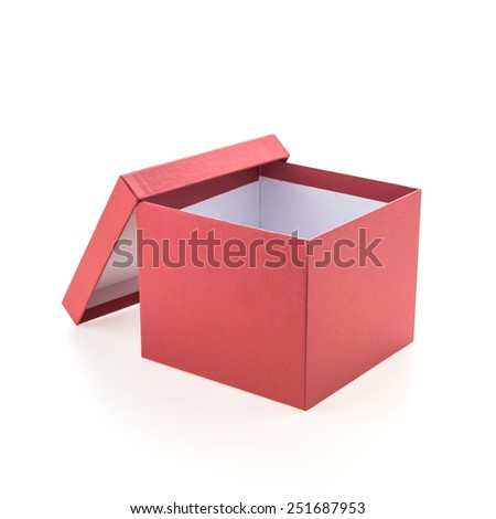 Christmas red box isolated on white background - stock photo