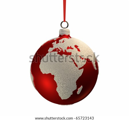 Christmas red bulb decorated with the shape of continents, Europe and Africa, 3d render - stock photo