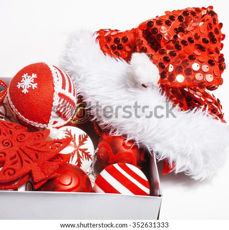christmas red decoration isolated , white background for post card greetings, toy design on tree macro space - stock photo