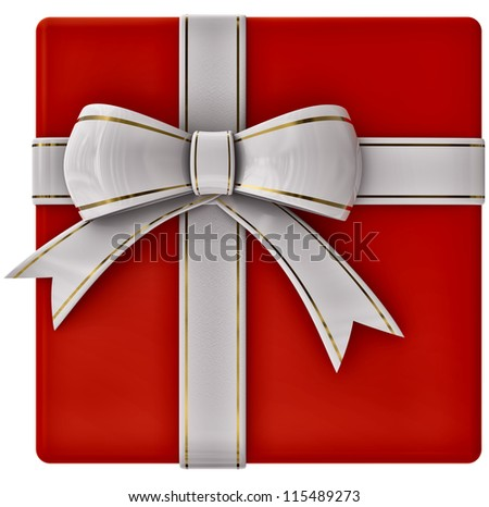 Christmas red gift with white ribbon and bow on white background - stock photo