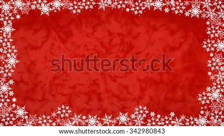 Christmas red pattern background with snowflakes and copy space. - stock photo