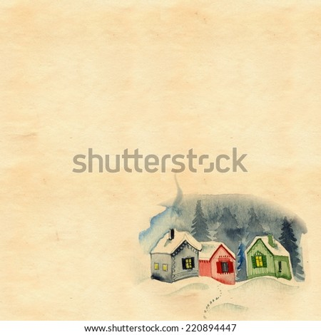 Christmas retro background for greeting card with stained paper and watercolor old village landscape. - stock photo