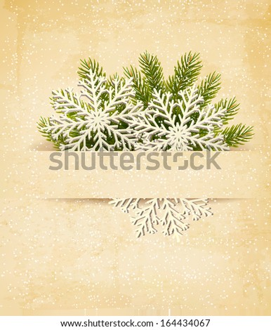 Christmas retro background with tree branches and snowflake. Raster version  - stock photo