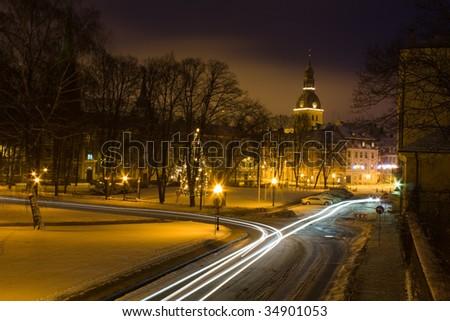 Christmas Riga at night - stock photo