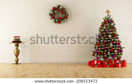 Christmas room with decoration,tree and gift - rendering - stock photo